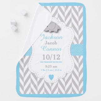 Baby Blue Elephant Birth Keepsake Design Swaddle Blanket