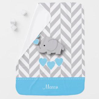 Baby Blue Elephant Design Stroller Blankets