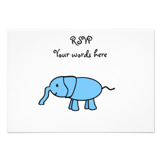 Baby blue elephant personalized announcement