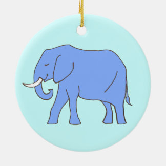 Baby Blue Elephant Walking Ceramic Ornament
