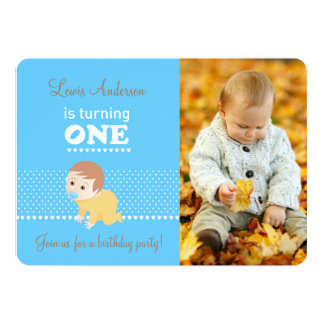 Baby blue first birthday party photo invitation