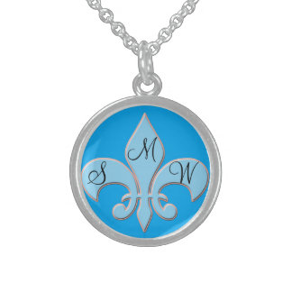 Baby Blue Fleur-de-lis Sterling Silver Necklace
