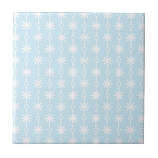 Baby Blue Floral and Circle Print Tile