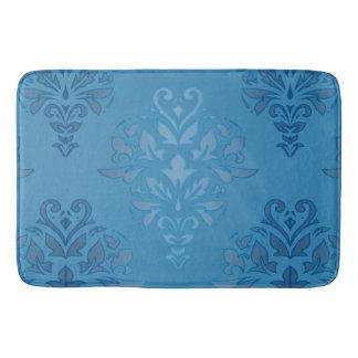 Baby Blue Floral Damask Bath Mat