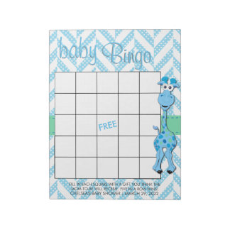 Baby Blue Giraffe Baby Boy Shower - Bingo Game Notepad