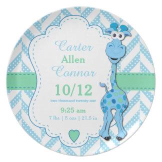 Baby Blue Giraffe - Birth Information Plate