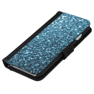 Baby blue glitter sparkles iPhone 6 wallet case