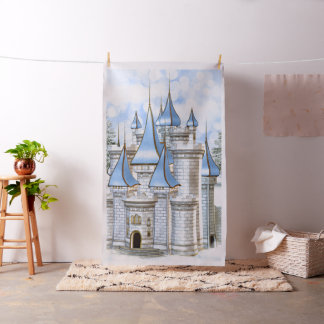 Baby Blue Gold Castle Photo Booth Backdrop Fabric
