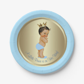 Baby Blue Gold Ethnic Hispanic Prince Baby Shower Paper Plate