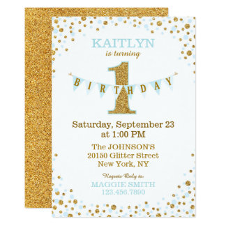 "Baby Blue Gold Glitter Sparkle First Birthday 5"" X 7"" Invitation Card"