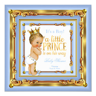 "Baby Blue Gold White Prince Baby Shower Blonde Boy 5.25"" Square Invitation Card"
