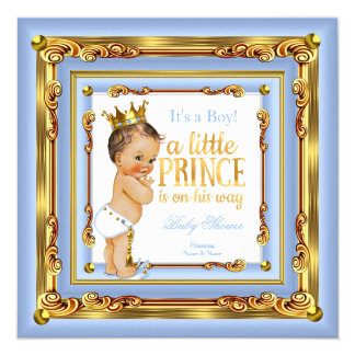 "Baby Blue Gold White Prince Baby Shower Brunette 5.25"" Square Invitation Card"
