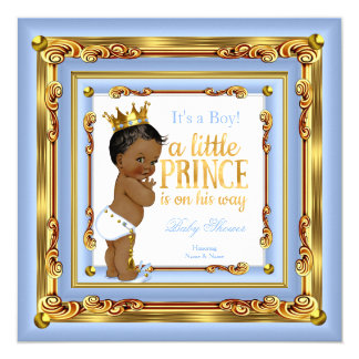 "Baby Blue Gold White Prince Baby Shower Ethnic Boy 5.25"" Square Invitation Card"