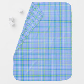 Baby Blue, Green, and White Plaid Stroller Blanket
