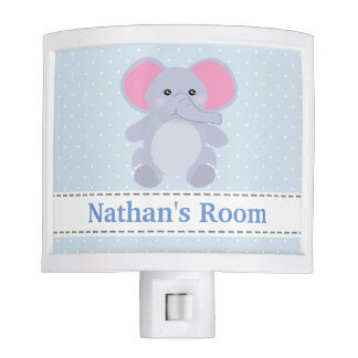 Baby Blue Grey Elephant Nursery Night Light