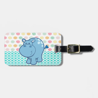Baby blue hippo on colorful buttons background luggage tag