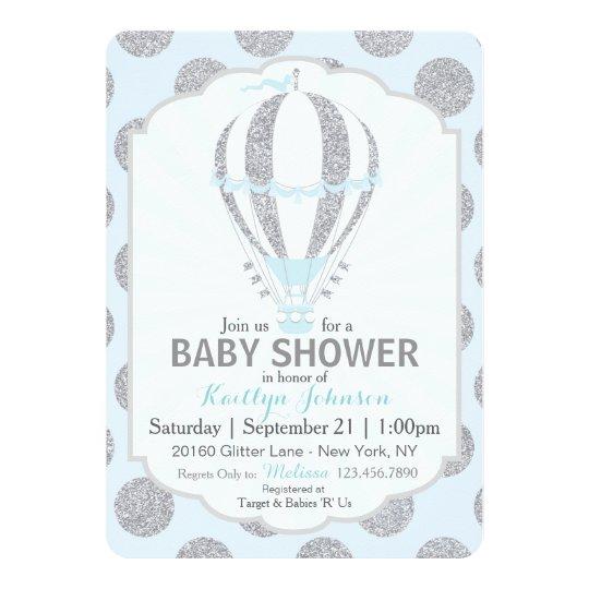 Baby Blue Hot Air Balloon Baby Shower Card