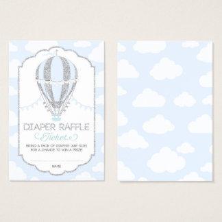 Baby Blue Hot Air Balloon Diaper Raffle Ticket