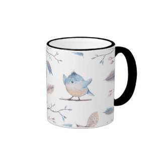 Baby Blue Jay painting Black 11oz Ringer Mug