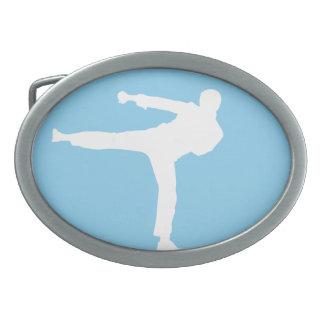 Baby Blue Karate Oval Belt Buckles