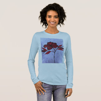 Baby blue long sleeve T-shirt single red flower.