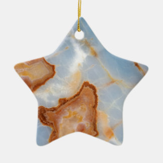 Baby Blue Marble with Rusty Veining Ceramic Star Ornament
