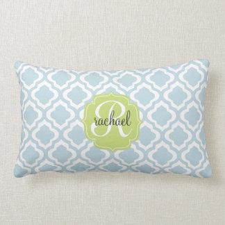 Baby Blue Moroccan Trellis Quatrefoil Personalized Lumbar Pillow