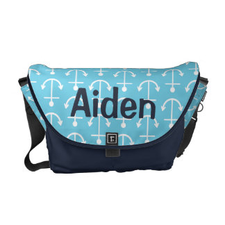 Baby Blue Nautical Anchor Diaper Bag Courier Bag