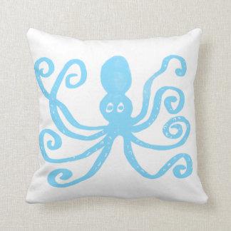 Baby Blue Octopus Throw Pillow