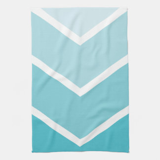 Baby Blue Ombré Chevron Stripes Kitchen Towel