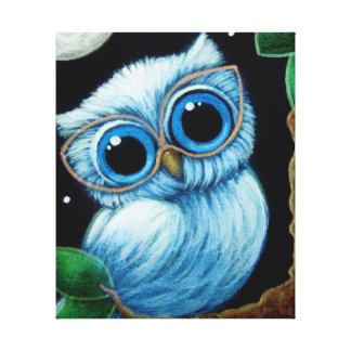 BABY BLUE OWL with EYEGLASSES Canvas Print