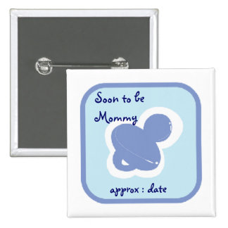 baby blue pacifier Soon to be mommy Pinback Buttons
