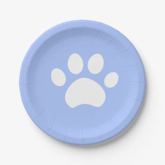 Baby Blue Paw Print 4 a Purrfect Day Paper Plate