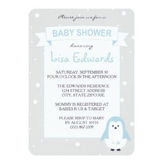 Baby Blue Penguin Baby Shower Invitation