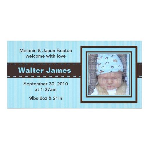 Baby Blue Photo Card Birth Announcement