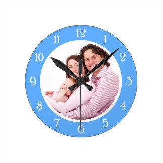 Baby Blue Photo Frame Round Clock