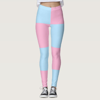 Baby Blue Pink Checkered Leggings