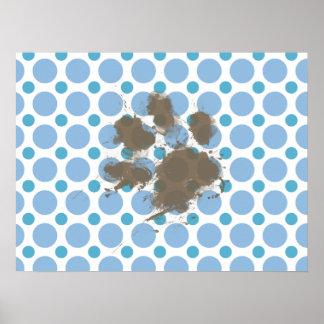 Baby Blue Polka Dots; Muddy Pawprint Print