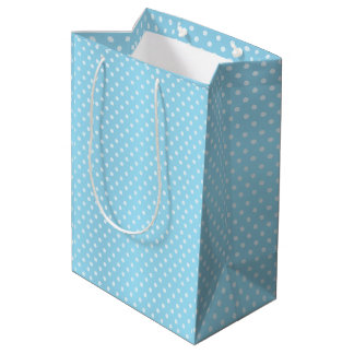 Baby Blue Polka Dots Pattern Medium Gift Bag
