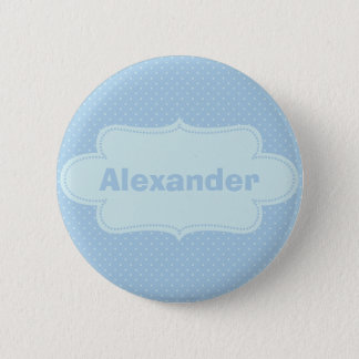 Baby Blue Polka Dots with Label 2 Inch Round Button