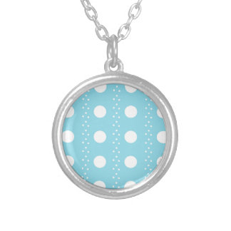 Baby Blue Polkadots Silver Plated Necklace