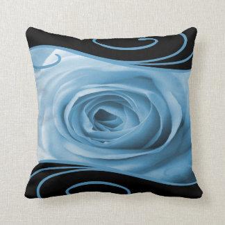 Baby Blue Rose & Swirls Throw Pillows