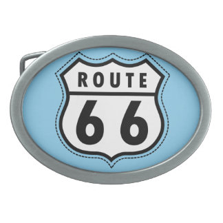 Baby Blue Route 66 sign Oval Belt Buckles