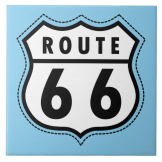 Baby Blue Route 66 sign Tile