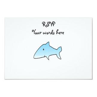 "Baby blue shark 3.5"" x 5"" invitation card"