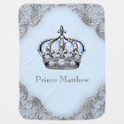 Baby Blue Silver Crown Prince Baby Blanket