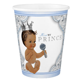Baby Blue Silver Ethnic Prince Baby Shower Paper Cup