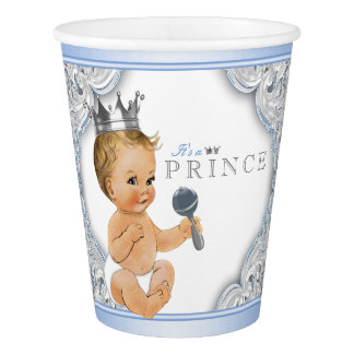 Baby Blue Silver Prince Boy Baby Shower Paper Cup
