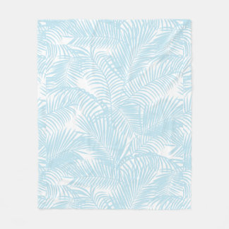 Baby blue simple modern tropical palm tree floral fleece blanket