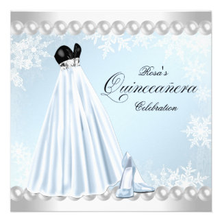Baby Blue Snowflake Quinceanera Invitations